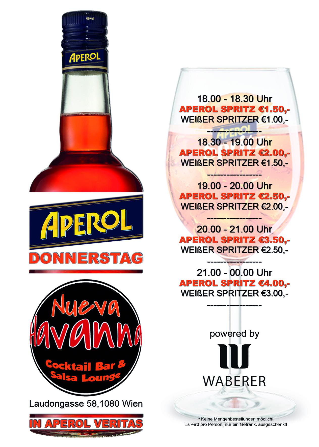APEROL DONNERSTAG @ Nueva Havanna