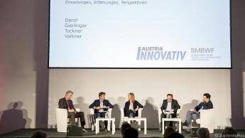 v.l.n.r.: Moderator Hornacek, Danzl, Gierlinger, Tockner, Valtiner