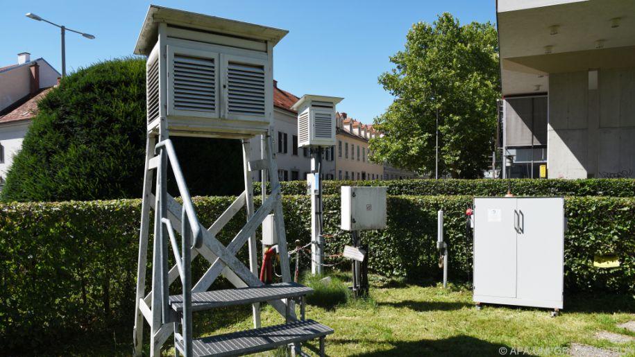 Die Wetterstation seitlich vom Hauptgebäude der Universität